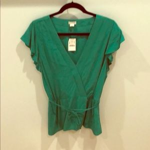 J Crew Factory Women's Short Sleeve Blouse
